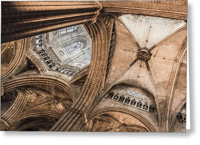Interior Barcelona Cathedral Greeting Card by Chas Hauxby