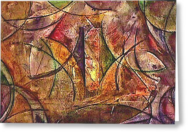 Mystical Landscape Mixed Media Greeting Cards - Interior Beginings Greeting Card by Dan Earle