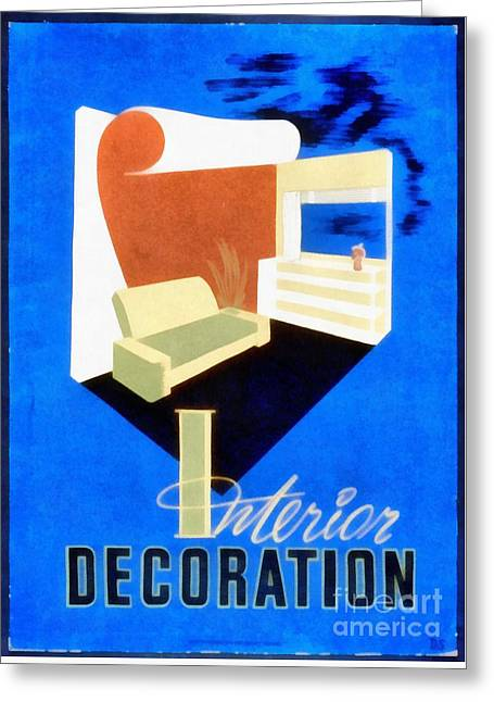 Interior Decoration Vintage Wpa Poster Greeting Card by Edward Fielding