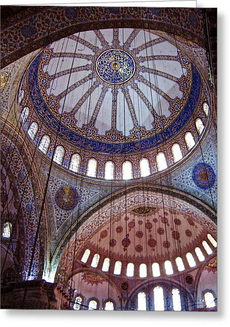 Interior Domes Of The Blue Mosque Greeting Card by Rachel Morrison