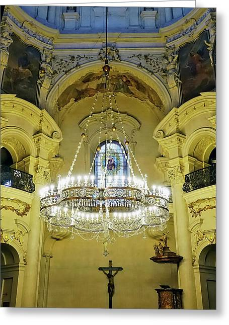 Interior Evening View Of St. Nicholas Church In Prague Greeting Card