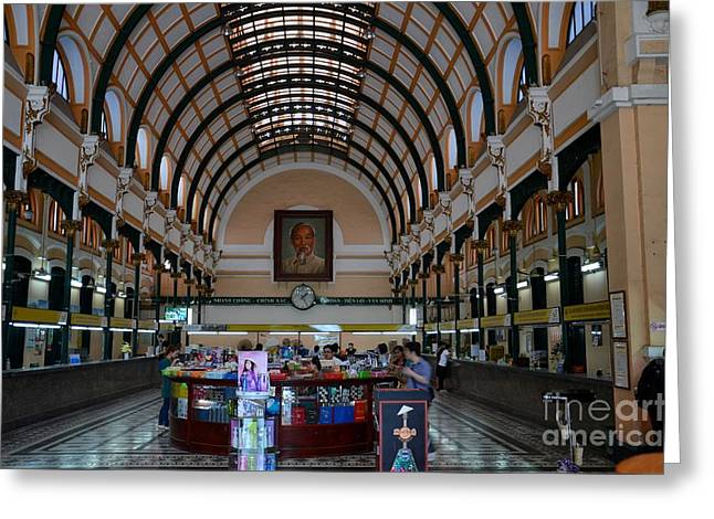 Interior Hall Of Historic Saigon Ho Chi Minh Central Post Office Building Vietnam Greeting Card by Imran Ahmed