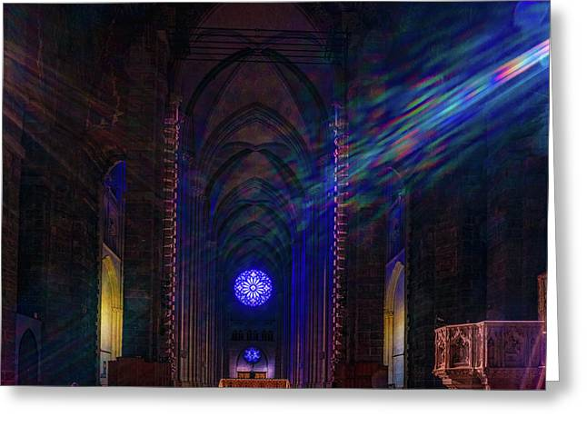 Greeting Card featuring the photograph Interior Looking Rearwards, Cathedral Of St. John The Divine by Chris Lord