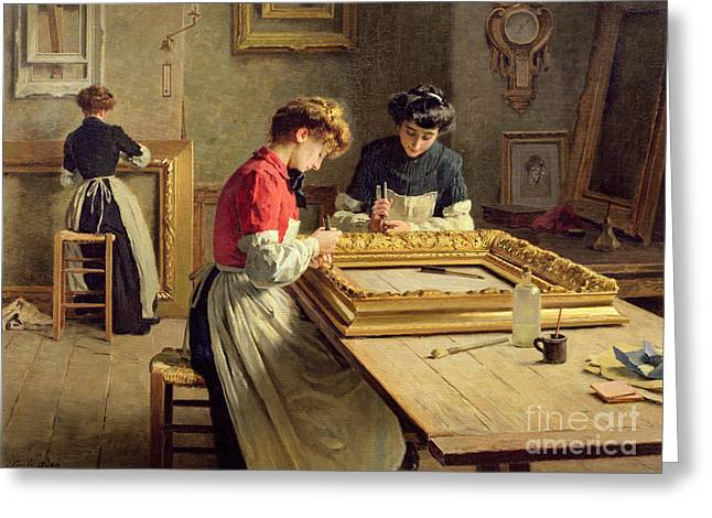 Atelier Greeting Cards - Interior of a Frame Gilding Workshop Greeting Card by Louis Emile Adan