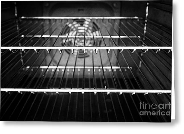 Interior Of A Home Kitchen Oven With Clean Metal Grill Shelves Greeting Card