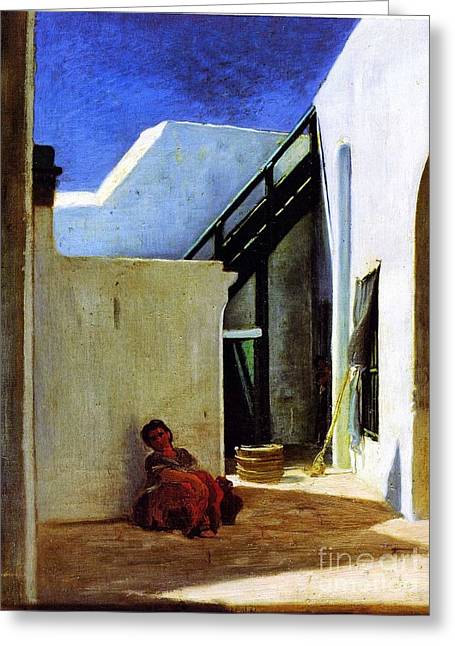 Interior Of A Moroccan Courtyard Greeting Card