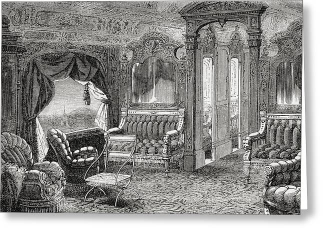 Interior Of A Pullman Palace Railway Greeting Card by Vintage Design Pics