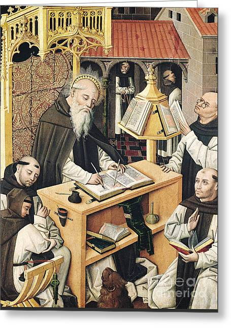 Interior Of A Scriptorium Greeting Card by Spanish School