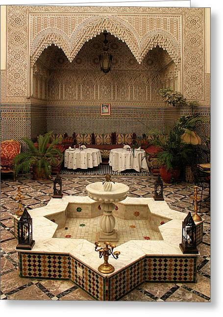 Interior Of A Traditional Riad In Fez Greeting Card