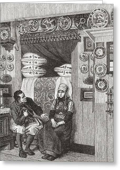 Interior Of A Typical Wooden House On Greeting Card by Vintage Design Pics