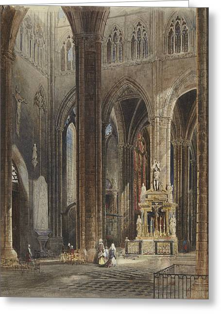 Interior Of Amiens Cathedral Greeting Card