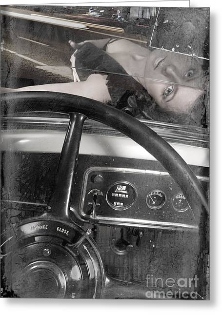 Greeting Card featuring the photograph Interior Of An Vintage Car. by Andrey  Godyaykin