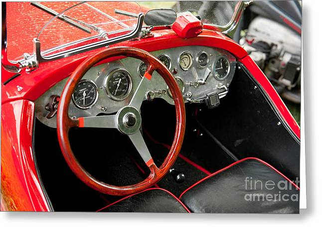 Interior Of Historic Red Classic Fiat Greeting Card