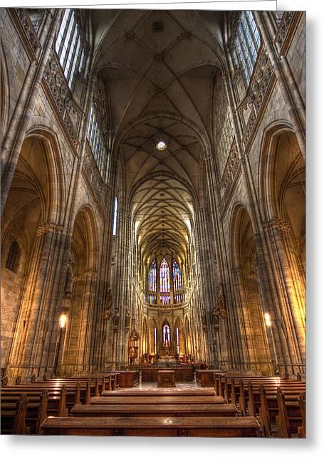 Interior Of Saint Vitus Cathedral Greeting Card by Gabor Pozsgai