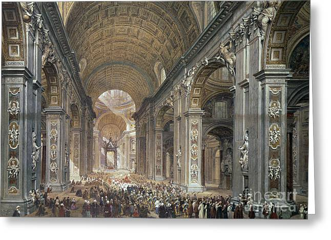 Interior Of St Peter's, Rome, 1867 Greeting Card by Louis Haghe