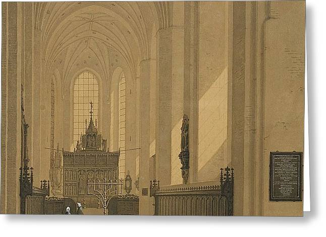 Interior Of The Cathedral At Aarhus Greeting Card by MotionAge Designs