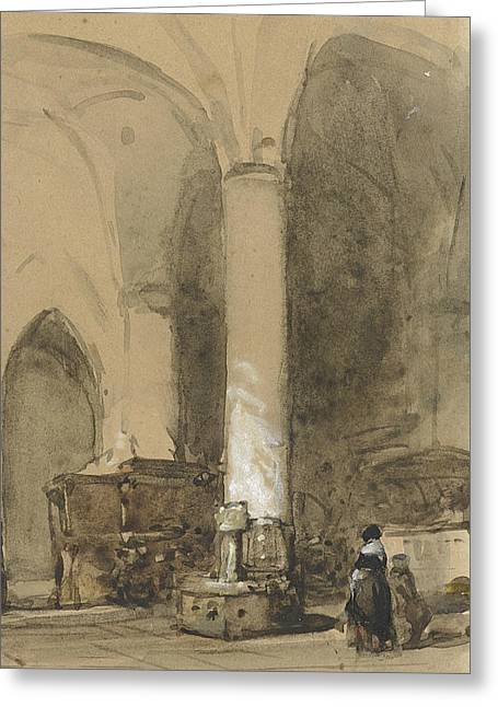 Interior Of The Church Hattem Greeting Card by Johannes Bosboom