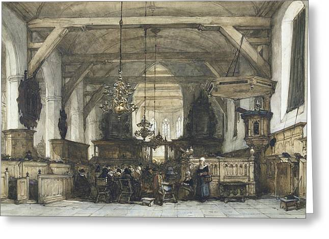 Interior Of The Church In Maasland Greeting Card by Johannes Bosboom