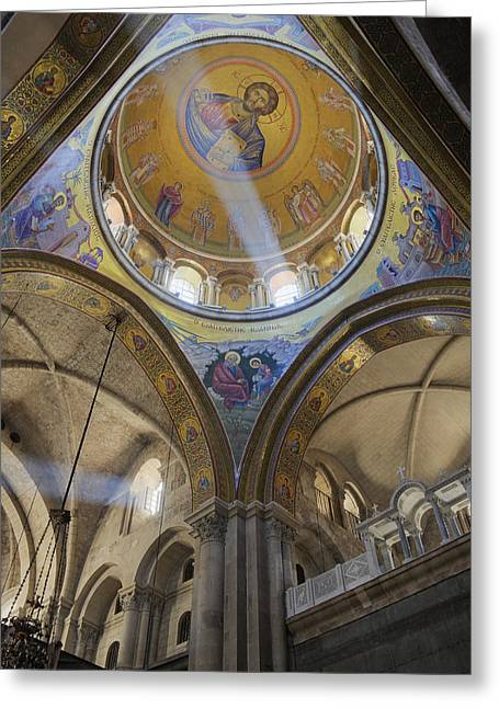 Interior Of The Church Of The Holy Sepulchre Greeting Card by Jeremy Woodhouse