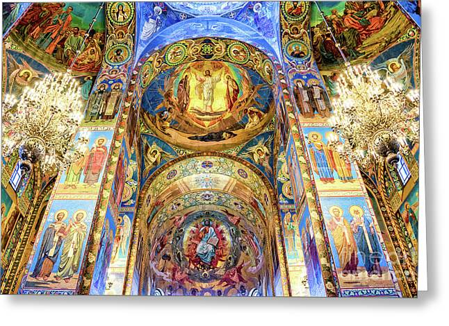 Interior Of The Church Of The Savior On Spilled Blood Greeting Card by Delphimages Photo Creations