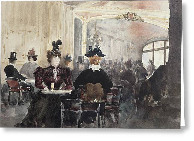 Coffee Drinking Paintings Greeting Cards - Interior of the Concert Rouge Greeting Card by Henri Laurent Mouren