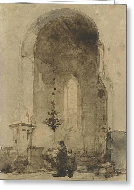 Interior Of The Geertekerk In Utrecht Greeting Card by Johannes Bosboom