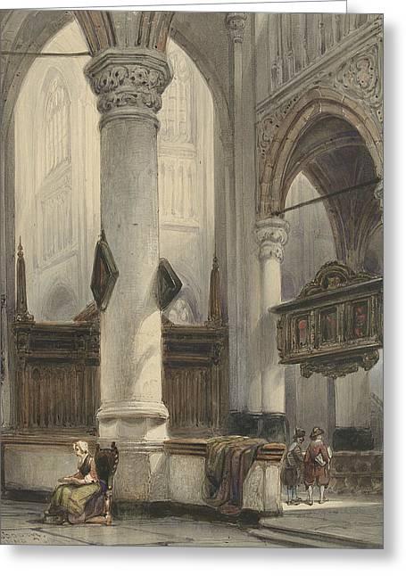 Interior Of The Nieuwe Kerk In Delft Greeting Card by Johannes Bosboom