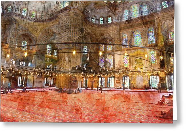 Interior Of The Sultanahmet Mosque Blue Mosque In Istanbul, Turkey Greeting Card by Brandon Bourdages