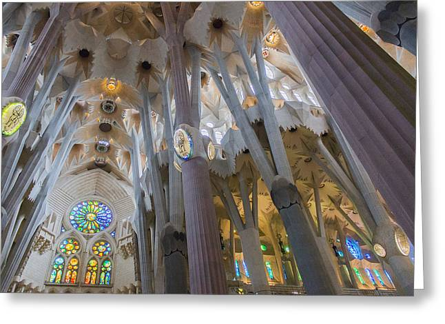 Interior- Sagrada Familia Greeting Card by Chas Hauxby