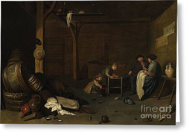 Interior Scene With A Peasant Couple And Two Children Greeting Card by MotionAge Designs