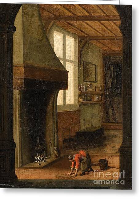 Interior Scene With A Woman Cleaning Greeting Card by Celestial Images