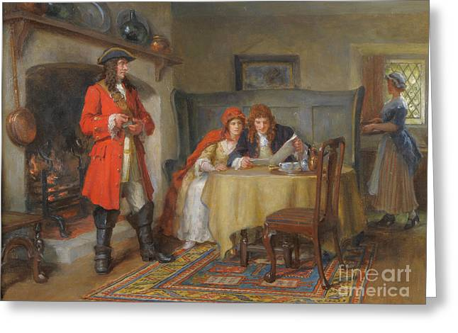 Interior Scene With Lady And Gentleman Greeting Card by MotionAge Designs