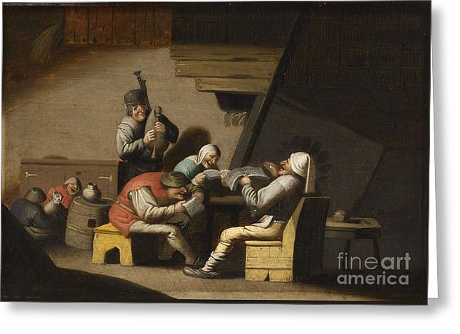 Interior Scene With Peasants Singing And Making Music Greeting Card by MotionAge Designs