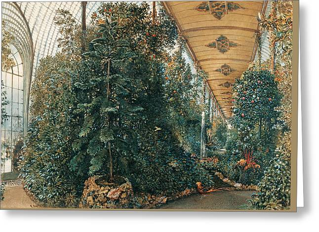 Interior View Of The Palm House Of Chateau Lednice Greeting Card