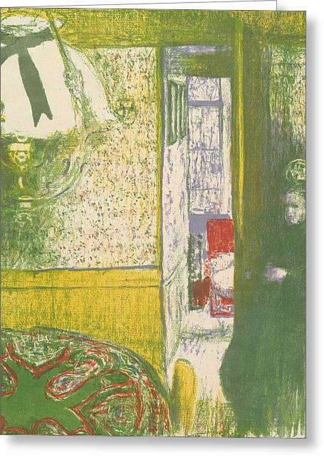 Interior With A Hanging Lamp, From The Series Landscapes And Interiors Greeting Card
