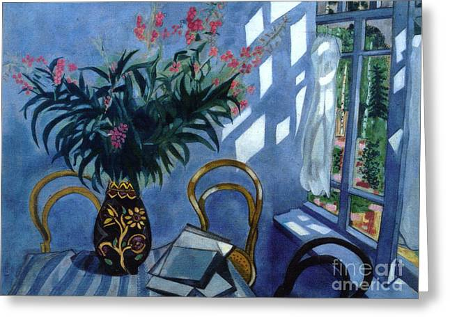 Interior With Flowers Greeting Card