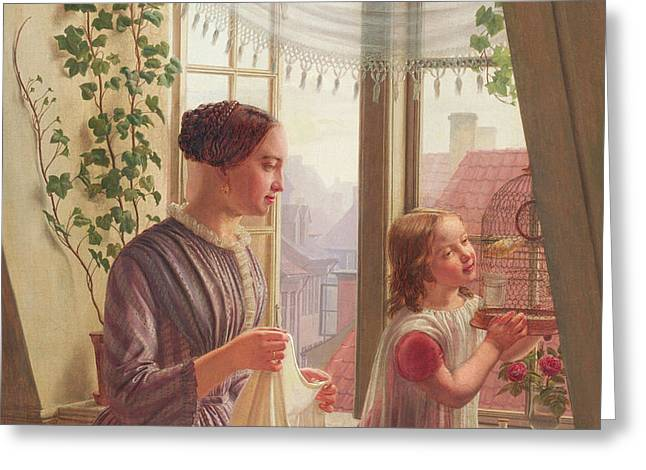 Interior With Mother And Daughter By A Window, 1853 Greeting Card