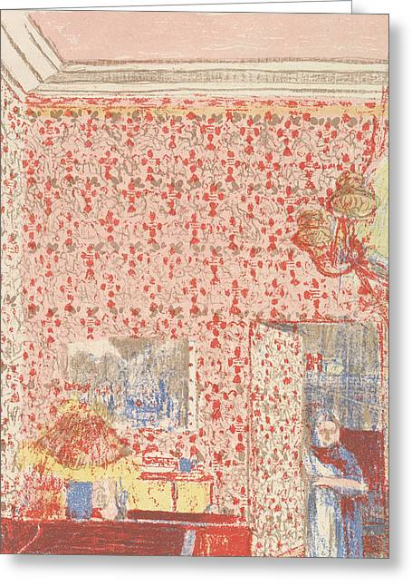 Interior With Pink Wallpaper I, From The Series Paysages Et Interieurs Greeting Card