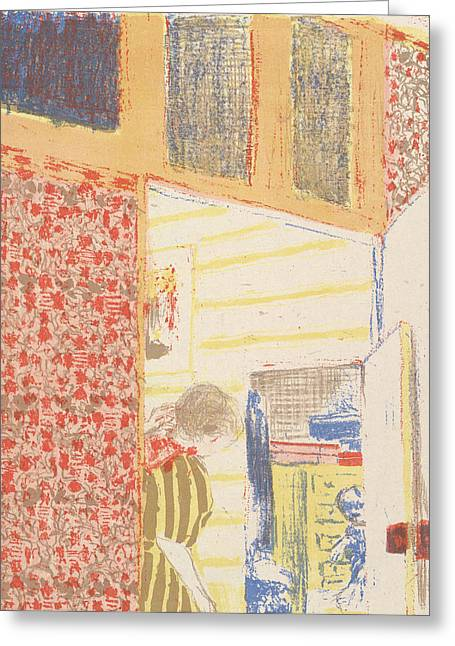 Interior With Pink Wallpaper IIi, From The Series Landscapes And Interiors Greeting Card