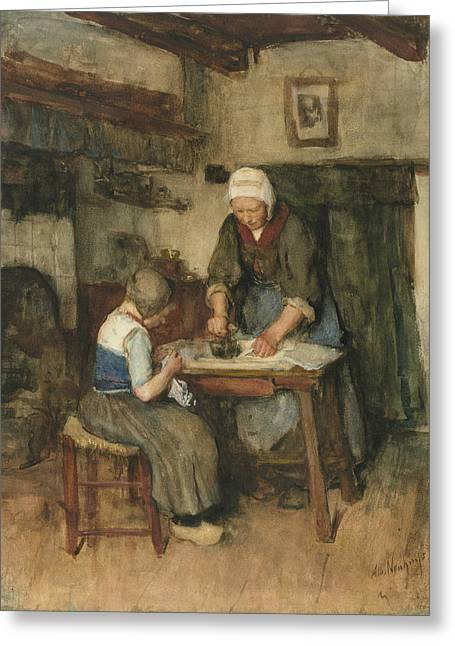 Interior With Woman Ironing And Sewing Child Greeting Card by Albert Neuhuys