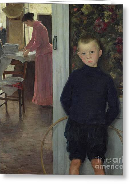 Interior With Women And A Child Greeting Card by Paul Mathey