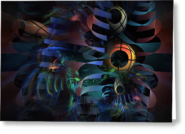 Greeting Card featuring the digital art Interlude 1536 - Fractal Art by NirvanaBlues