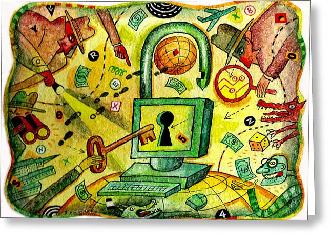 Internet Security And Hackers Greeting Card by Leon Zernitsky