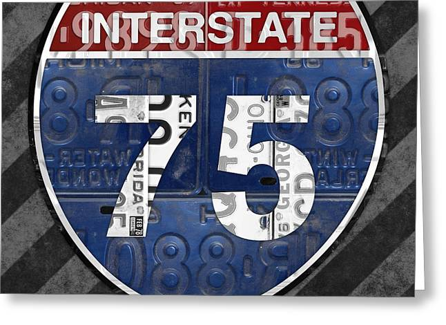Interstate 75 Highway Sign Recycled Vintage License Plate Art On Striped Concrete Greeting Card