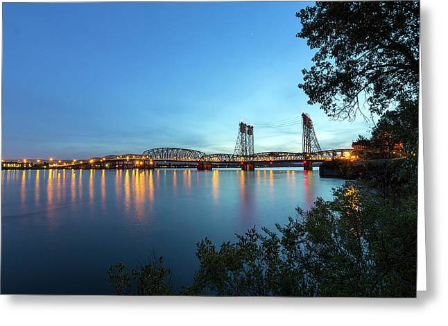 Interstate Bridge Over Columbia River At Dusk Greeting Card by David Gn