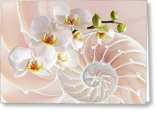Intimate Fusion In Soft Pink Greeting Card by Gill Billington