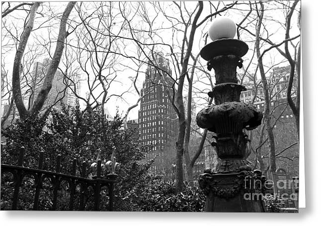 Into Bryant Park Mono Greeting Card by John Rizzuto