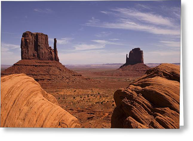 Art. Photograph Greeting Cards - Into Monument Valley Greeting Card by Andrew Soundarajan