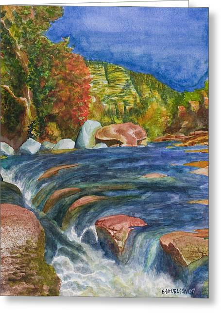 Into Slide Rock Greeting Card by Eric Samuelson
