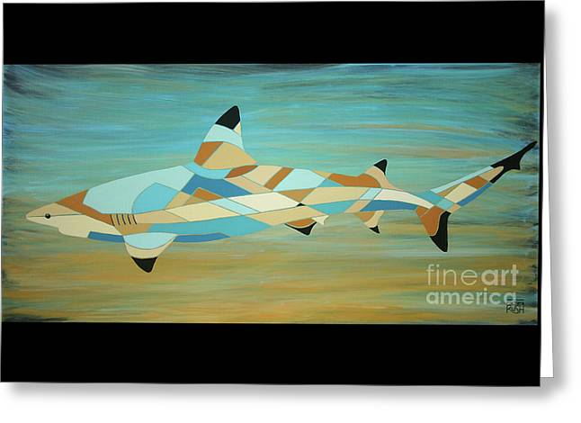 Into The Blue I Shark Painting Greeting Card